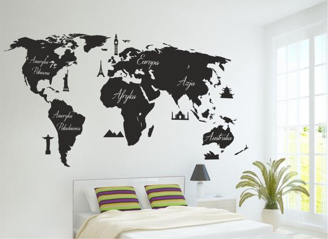 Mapa świata Naklejki Na ścianę Map009 Mapy Naklejki Do Domu Naklejkiozdobne Pl